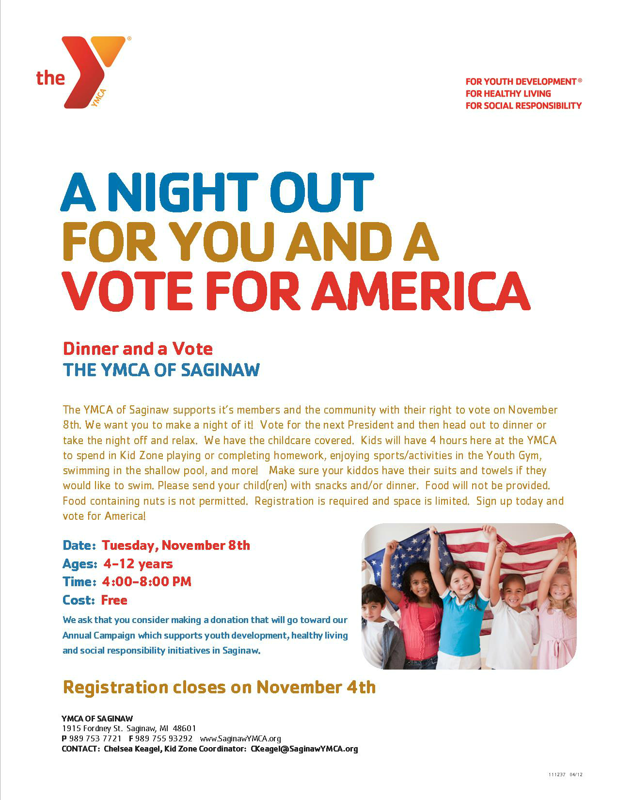 Dinner and a Vote @ YMCA of Saginaw